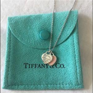 Tiffany & Co mini double heart tag pendant necklac